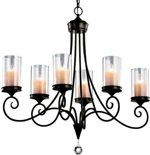 42862SWZ Lara 6LT Oval Chandelier, Shadow Bronze Finish with Clear and Faux Candle Glass Shades (Shadow And Light Candle)