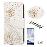 STENES Galaxy S8 Plus Case - Stylish - 3D Handmade Crystal S-Link Flowers Design Wallet Credit Card Slots Fold Media Stand Leather Cover for Samsung Galaxy S8 Plus with Screen Protector - White