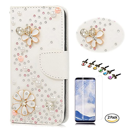 STENES Galaxy S8 Plus Case - Stylish - 3D Handmade Crystal S-Link Flowers Design Wallet Credit Card Slots Fold Media Stand Leather Cover for Samsung Galaxy S8 Plus with Screen Protector - White by STENES
