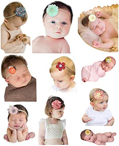Qandsweet Baby Girl's Elastic Headbands Hair Accessories for Take Photos