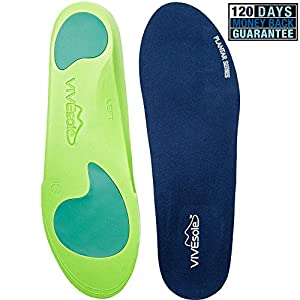 Full Length Orthotics by VIVEsole - Plantar Series - Insoles with Arch Support, Heel and Forefoot Cushions for Plantar Fasciitis - 120 Day Guarantee