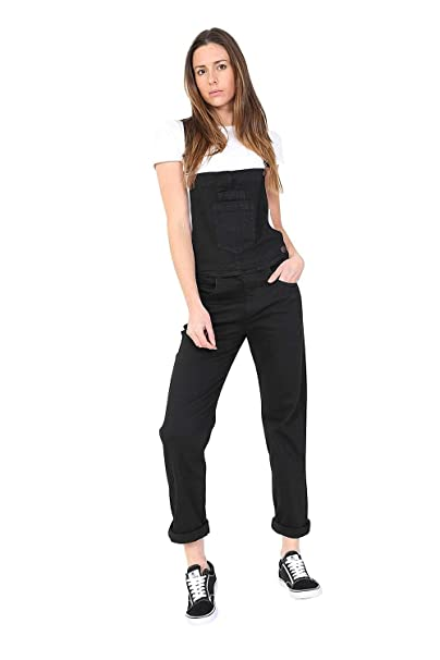 Uskees Cargo Pocket Womens Dungarees Beige Cotton Roll-up Leg Bib-Overalls DAISYPORPOISE
