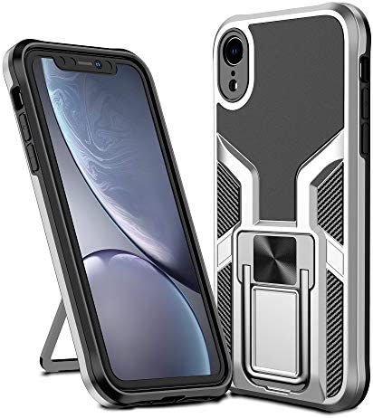 Rebex Metal Kickstand Designed for iPhone XR Case,Hard PC and Flexible Soft TPU Phone Cover,Drop Protection with Vertical and Horizontal Stand, Car Mount Holder for iPhone XR (2018 Release) (Silver)