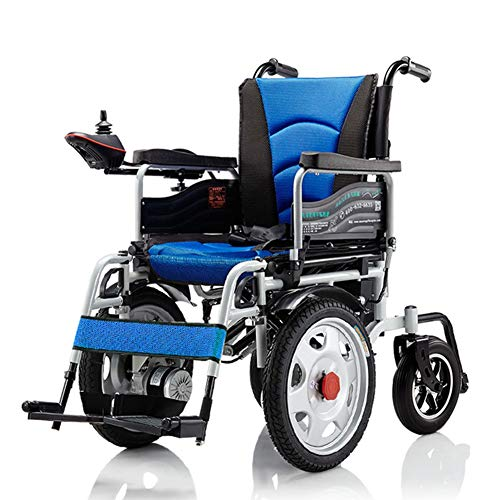 (PANGU-ZC Electric Wheelchair - Electric Wheelchair Folding Collapsible Front-Drive Elderly Disabled Four-Wheeled Scooter -4823 Wheelchair (Color : Blue))