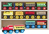 wooden train cars - Play22 Wooden Train Set 12 PCS - Train Toys Magnetic Set Includes 3 Engines - Toy Train Sets For Kids Toddler Boys And Girls - Compatible With Thomas Train Set Tracks And Major Brands - Original