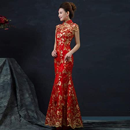 Red Chinese Wedding Dress Female Long Short Sleeve Cheongsam Gold Slim Chinese Traditional Dress Women Qipao For Wedding Party Red L Amazon Co Uk Kitchen Home,50 Year Old Wedding Dress