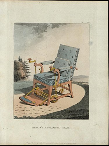 Merlin's Mechanical Chair Furniture scarce old c. 1822 Ackermann aquatint print