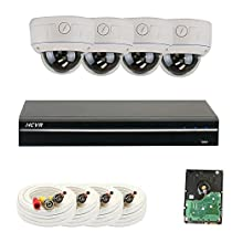 GW Security 1080P HD-CVI 4 Channel Video Security Camera System - Four 2MP Weatherproof 2.8-12mm Varifocal Zoom Dome Cameras, 30-IR LED 80ft Night Vision, Long Distance Transmit Range (984ft)