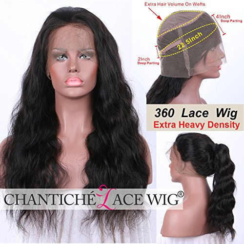 Chantiche Glueless Body Wave 360 Lace Wig with Natural Hairline and High Ponytail Brazilian Virgin 360 Lace Frontal Human Hair Wigs for Women 150% Extra Heavy Density 20inches Natural Color by Chantiche Lace Wig