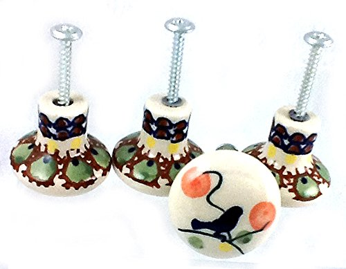 polish-pottery-set-of-four-cabinet-furniture-knobs-decorative-door-or-drawer-knobs-in-limited-editio