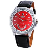 HOT WINNER Men Fashion Casual Automatic Mechanical Watch Leather Strap Sub Dial Red Calendar Dial 098 +BOX