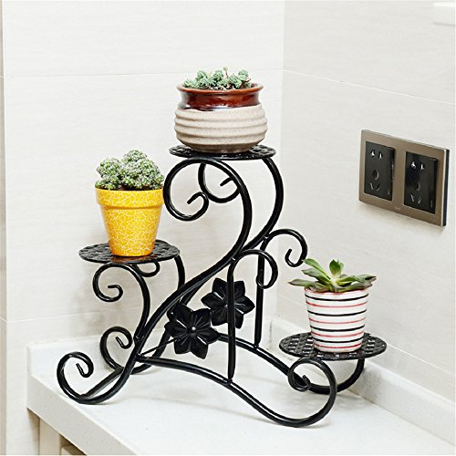 NOHOPE 3-Tier Flower Stand Metal Flower Shelf Balcony Flower Pot Rack Window Sill Plant Stand Garden Floor Planter Creative Potted Planter Flower Pot Holder Potted Plant Organizer,B