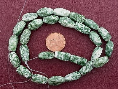 15x7 Twist Gemstone Green Spot Agate - Beads Green Agate Gemstone Spot