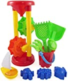 Liberty Imports Double Sand Wheel Beach Toy Set for Kids with Bucket, Shovels, Rakes, Sailboat & 3 Shape Molds