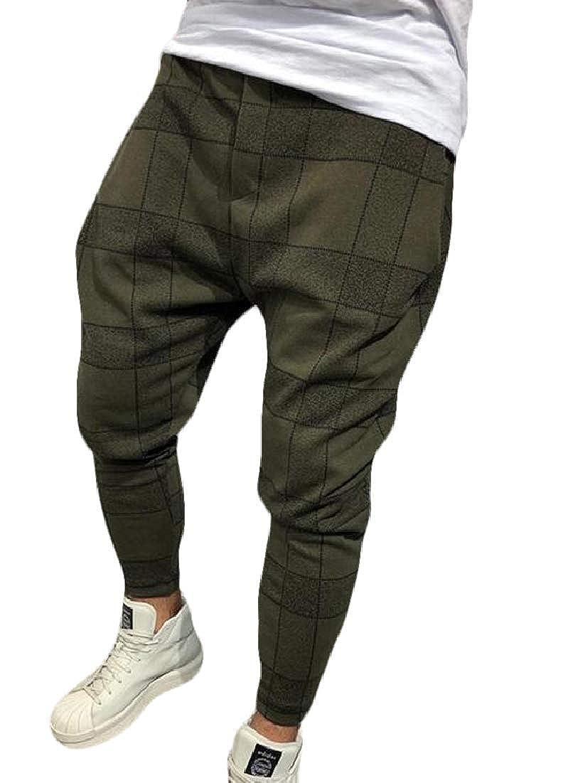 BYWX Men Plaid Print Hip hop Harem Stylish Jogger Pants with Pockets