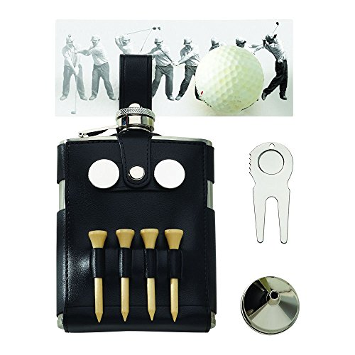 Black Leatherette Golf Flask with Golfer's Tools by CGI001