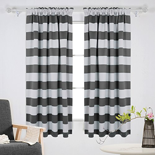 Deconovo Gray Striped Blackout Window Curtains Thermal Insulated Grey and Greyish White Striped Curtains for Bedroom 42W X 63L Gray 2 Panels