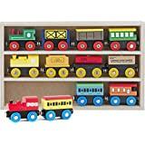 Play22 6006 Wooden 12 Pcs Magnetic Includes 3 Engines-Toy Train Sets for Kids Toddler Boys and Girls