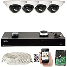 GW Security 8 Channel NVR 5 Megapixel H.265 Security Camera System, 4 Built-In Microphone Audio Recording HD 1920P IP PoE Dome Cameras, QR-Code Connection