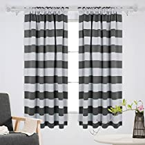 Deconovo Striped Blackout Curtains Rod Pocket Room Darkening Curtains for Kids Room
