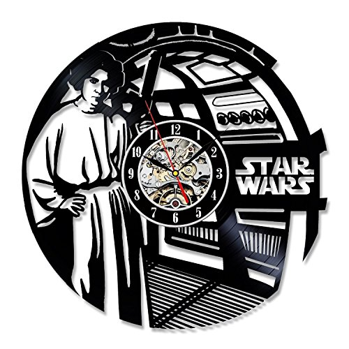 Princess Leia Han Solo Star Wars Vinyl Record Wall Clock - Decorate your home with Modern Art - Best gift for man, woman, boyfriend and girlfriend - Win a prize for feedback -