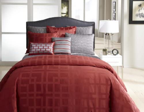 Amazon Com Veratex Frames Collection 100 Polyester 4 Piece Modern Bedroom Comforter Set Queen Size Red Home Kitchen