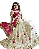 Rewa Enterprises Women's Fashionable Saree Free Size White