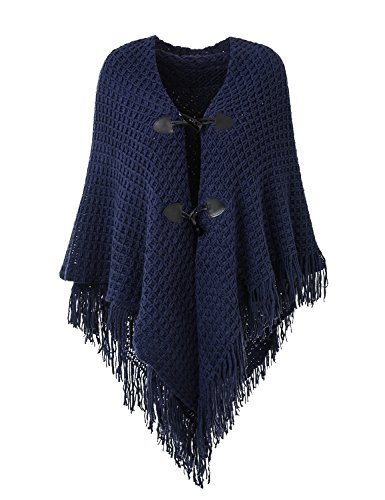 - Ferand Women's Loose Fitting Poncho Cape Shawl with Stylish Horn Buttons, V Neckline and V Hem, Navy Blue (Larger & Thicker Style)