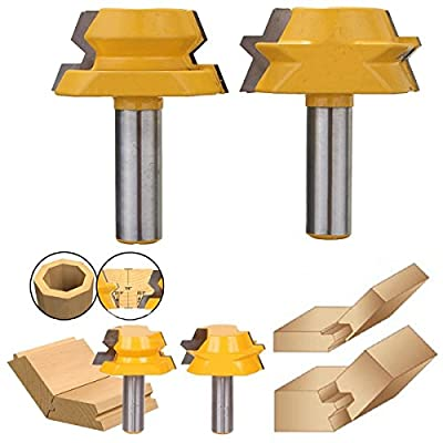 "AccOED 1/2"" Shank 2pcs Lock Miter Router 22.5 Degree Glue Joinery Router Bit Set Tenon Cutter Wood cutter for Woodworking Power Tool"