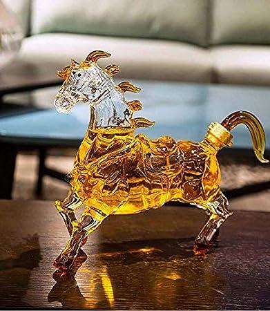 Licorera Casual Decantador En Forma De Caballo Botella De Cristal De Vino Botella Creativa Vacía Decantador De Whisky MUMUJIN (Color : 1000ML)