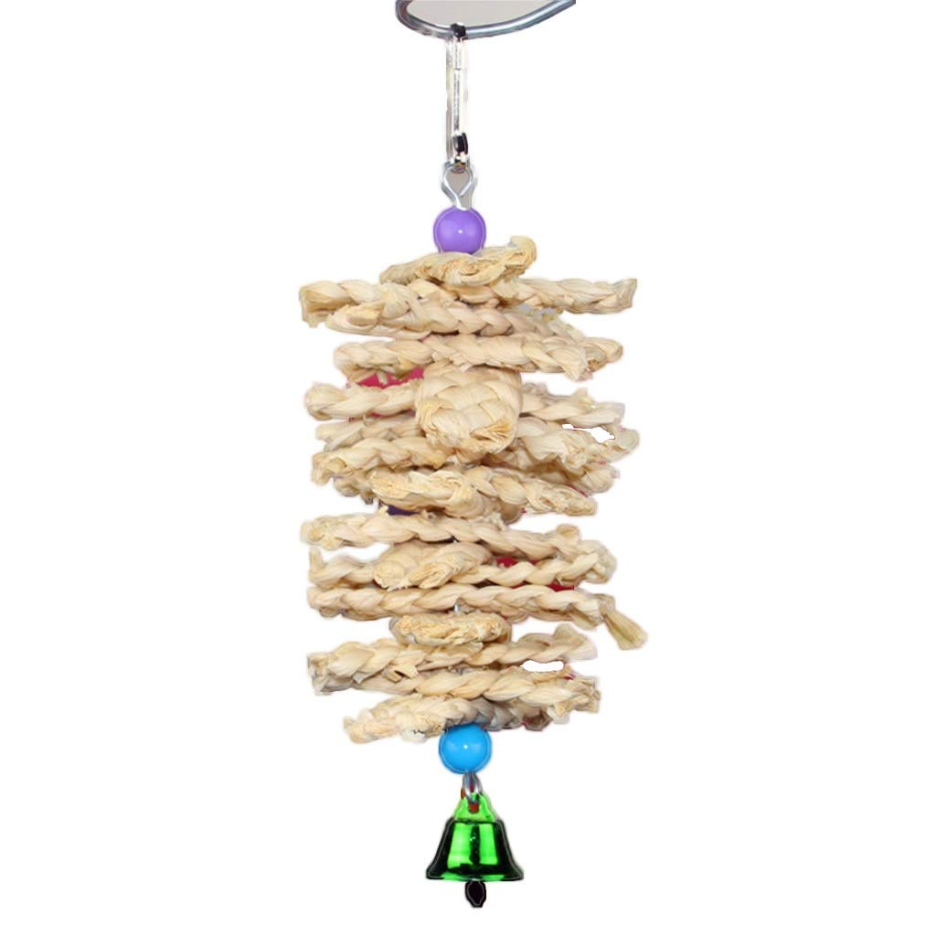 Bird toy Bird Parrot Toy Wooden Grass with Bell Natural Chewing Bite Hanging Cage Swing Climb Chew Toys by Bird toy
