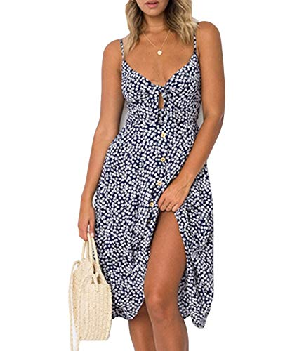 Mansy Womens Sundress Retro Spaghetti Strap Tie Front Button Flowy Midi Dresses