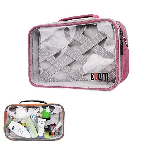 bubm-clear-travel-gear-organizer-electronics-accessories-bag-cosmetic-bag-double-rectangular-pink