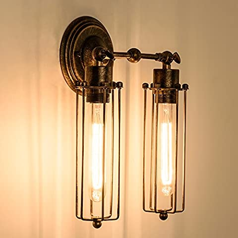 Vintage Wall Sconce 2-Light Simplicity Antique Oil Rubbed Mini Wire Cage Wall Lamp ;Moonkist (With 2 Light) (Brown)