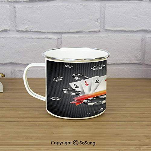 Poker Tournament Decorations Enamel Coffee Mug,Artistic Display Spread Chips with Poker Cards Lifestyle Decorative,11 oz Practical Cup for Kitchen, Campfire, Home, TravelBlack White Red