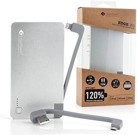 Case Power Edge 3000 draagbare batterij voor iPhone en smartphones, detailhandelverpakking, zilverkleurig