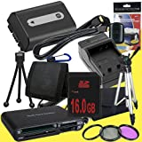 NPFH50 Lithium Ion Replacement Battery w/Charger + 16GB SDHC Memory Card + Mini HDMI + 3 Piece Filter Kit + Tripod + USB SD Memory Card Reader /Wallet + Deluxe Starter Kit for Sony DCRDVD508, DCRDVD408, DCRDVD308, DCRDVD108, DCRDVD505, DCRDVD405, DCRDVD30
