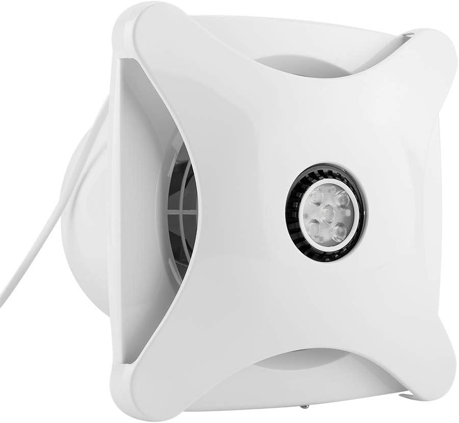 Jadpes Ventilador de extracción Vent, 1 Ventilador de ventilación de hélice de Flujo de Aire montado en la Pared con luz LED Montaje en la Pared para el Sistema de ventilación de la Cocina