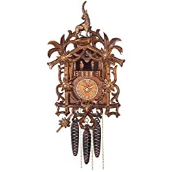 River City Clocks One Day Musical Cuckoo Clock with Hand Carved Flowers, Vines, and Billy Goat
