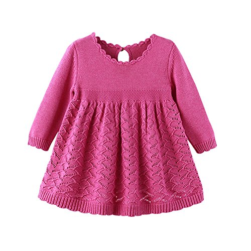 - Auro Mesa Baby Girls Knit Dress Long Sleeve Princess 1 year birthday dress (12-18M), Rose