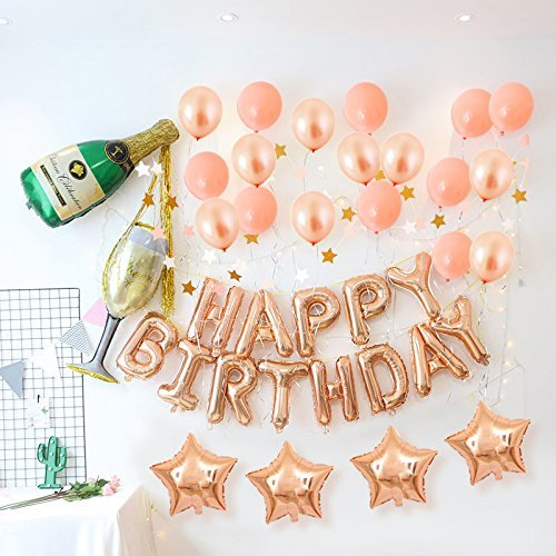 DIvine Birthday Party Decorations Kit - Rose Gold Happy Birthday Banner Latex Balloons Champagne Bottle Goblet with Paper Tassels for Birthday Party Supplies Set
