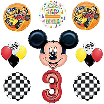 Mickey Mouse 3rd Birthday Party Supplies and Mickey Roadster Balloon Bouquet Decorations