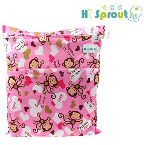 Jellbaby - bolsa de pañales, para bebé, impermeable, de impresión doble, con cremallera flower Talla:28cm x 30cm mono