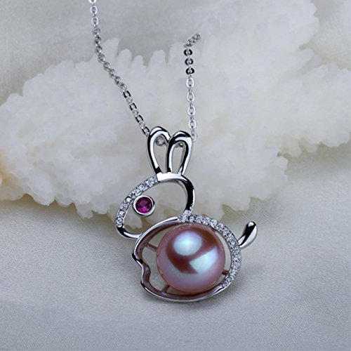 (Natural pearl necklace pendant small rabbit necklace pendant DIY accessories rhodium-plated necklace pendant jewelry mountings)