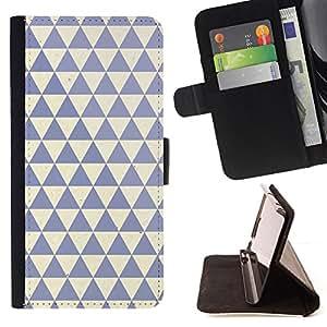 BullDog Case - FOR/Apple Iphone 6 PLUS 5.5 / - / polygon pattern clean blue beige /- Monedero de cuero de la PU Llevar cubierta de la caja con el ID Credit Card Slots Flip funda de cuer