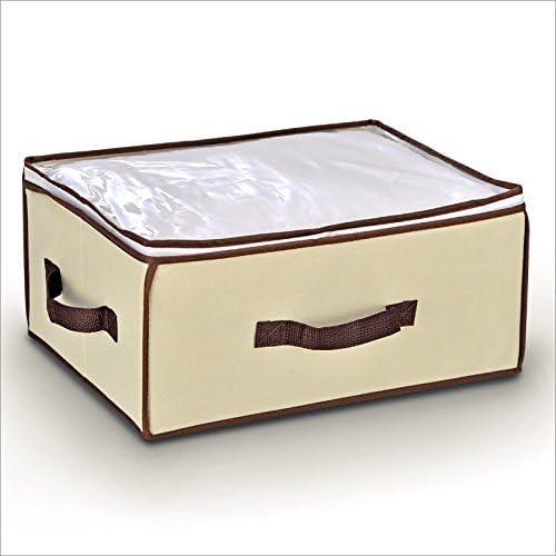 Relaxdays - Caja de almacenaje de ropa para debajo de la cama (40 x 20 x 18 cm, tapa transparente, cierre con cremallera, poliéster), color marrón: Amazon.es: Hogar