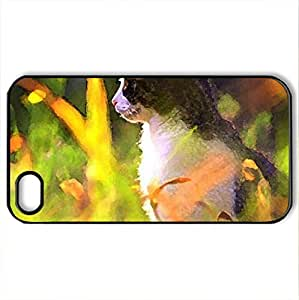 Beautiful Memories - Case Cover for iPhone 4 and 4s (Cats Series, Watercolor style, Black)
