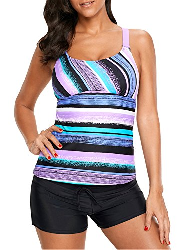 (Womens Strappy Racerback Color Block Printed Push Up Tankini Tops Padded Swimsuits Slimming Swimwear Bathing Suits Purple Small 4 6)