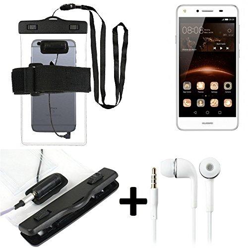 Estuche estanco al agua con entrada de auriculares para Huawei Y5 II Dual-SIM + auricular incluido, transparente | Trotar bolsa de playa al aire libre caja brazalete del teléfono caso de cáscara bajo