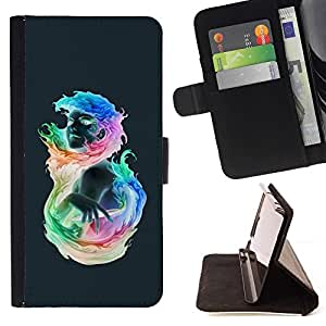 For HTC One A9 Case , Muchacha colorida llameante- la tarjeta de Crédito Slots PU Funda de cuero Monedero caso cubierta de piel